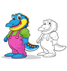 Cute crocodile cartoon mascot vector image vector image