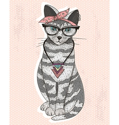 Cute hipster rockabilly cat with head scarf glasse vector
