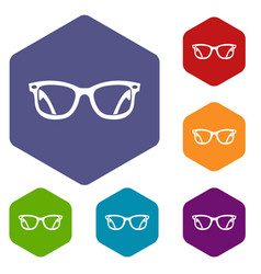 eyeglasses icons set vector image