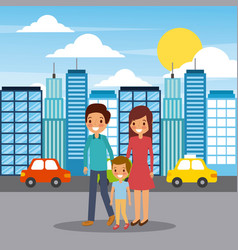family walking happy in the city street vector image vector image