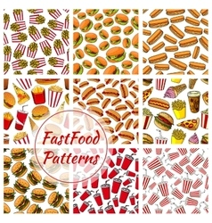 Fast food and drinks seamless pattern background vector image vector image