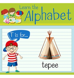 Flashcard letter t is for teepee vector
