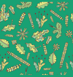 Forest moss on green background - seamless pattern vector