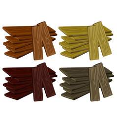 Four piles of wood in different colors vector