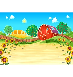 Funny landscape with the farm and sunflowers vector