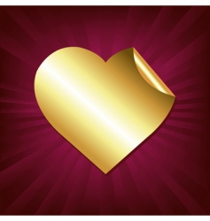gold heart sticker vector image
