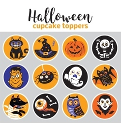 Halloween cupcake toppers vector