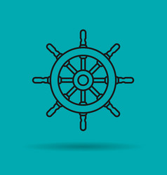 isolated linear icon of sea wheel vector image
