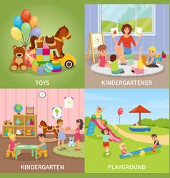 Kindergarten flat design concept vector