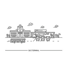 Line art bus terminal station in vector