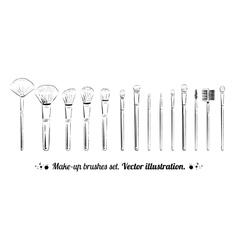 Makeup brushes kit vector
