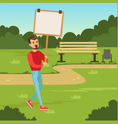 Man with placard claiming his demands in the park vector