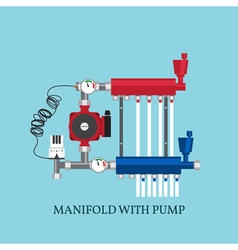Manifold with pump for warm floor flat heating co vector