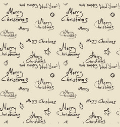 Merry christmas calligraphic seamless pattern on vector