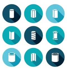 Metallurgical products Icons Set vector image