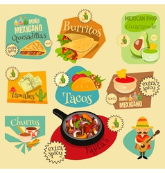 Mexican food menu mini labels vector