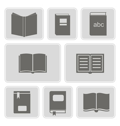 monochrome icons with books vector image