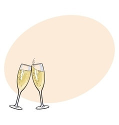 Pair of champagne glasses holiday toast vector image