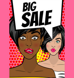 Pop art woman big sale banner speech bubble vector