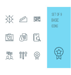 Project icons set collection of growth board vector