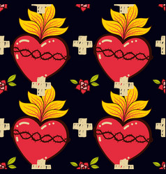 Sacred heart cross rose seamless pattern old vector