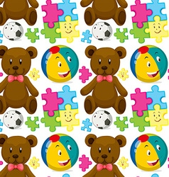 Seamless background with teddybear and ball vector