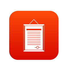 sertificate icon digital red vector image vector image
