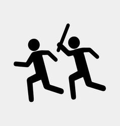 sign stop violence one symbolically man runs vector image vector image