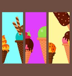 Sweet cartoon cold ice cream cards set tasty vector