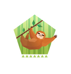 Tree sloth pentagon composition vector
