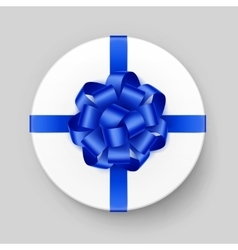 White gift box with shiny blue bow and ribbon vector