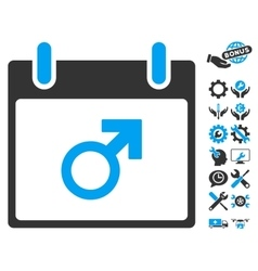 Mars male symbol calendar day icon with vector