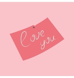 Message with pink love vector
