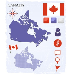 Canada map icons and buttons set vector