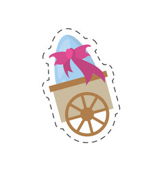 cart with easter egg bow - cut line vector image