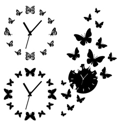 Butterfly clocks set vector