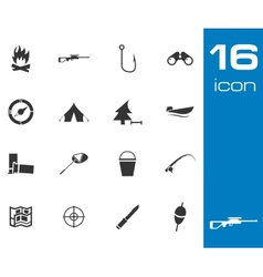 Black hunting icons set on white background vector