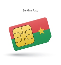 Burkina faso mobile phone sim card with flag vector