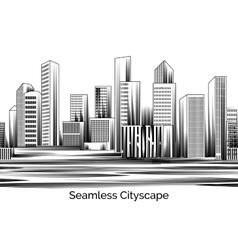 Seamless cityscape engraving vector