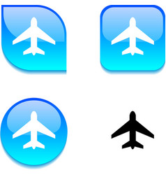 Aircraft glossy button vector
