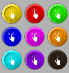 Click here hand icon sign symbol on nine round vector