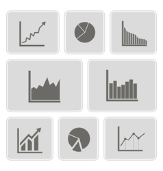 Icons with symbols of charts and graphs vector