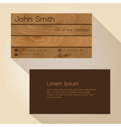 Brown wood simple business card design eps10 vector