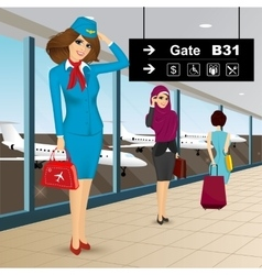 Beautiful air hostess in an airport vector