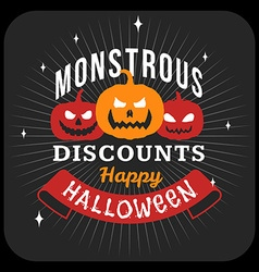 Retro vintage happy halloween badge halloween sale vector
