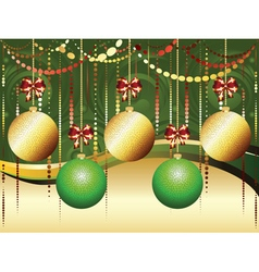 Gold and green xmas balls2 vector