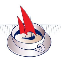 Coffee mug and sail boat vector