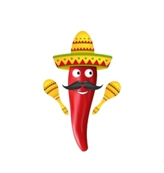 Mexican symbols red chili pepper sombrero hat vector
