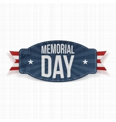 Memorial day label with text and ribbon vector