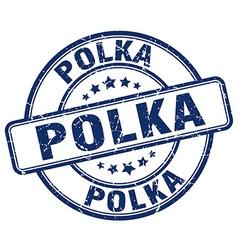 polka blue grunge round vintage rubber stamp vector image